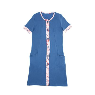 Халат женский на пуговицах LH 17-009 цвет светло-синий/светло-розовый, р-р 46