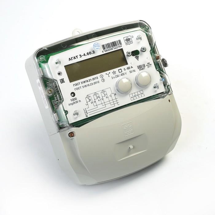 Счетчик АГАТ 3-4.60.2, 3ф, 5-60 А, 1 класс точности, двухтарифный, GMT +5, ЕКБ