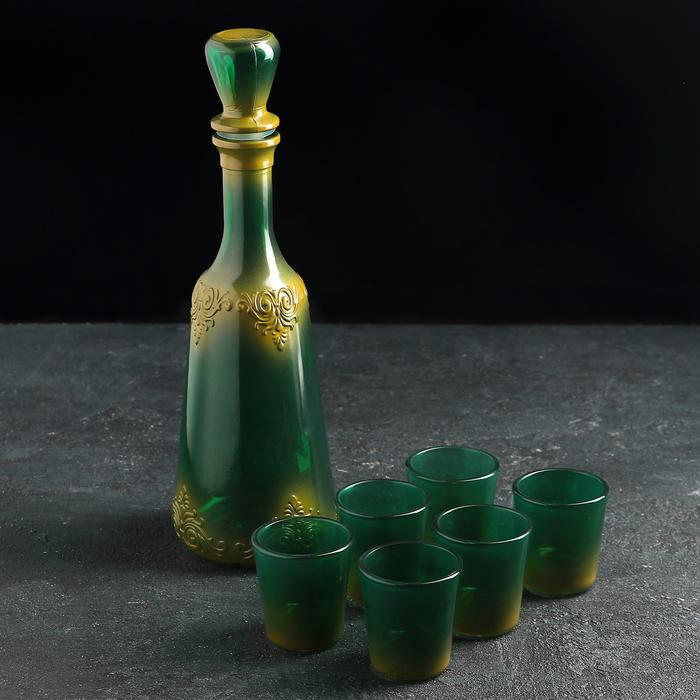 """Набор питьевой """"Монашка"""", 7 предметов: графин 500 мл, 6 стопок 50 мл, напыление, цвет МИКС"""
