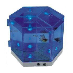 Аквариум BOYU 3,6 л., пластик, для петушков, 3 отсека, 3 светодиода
