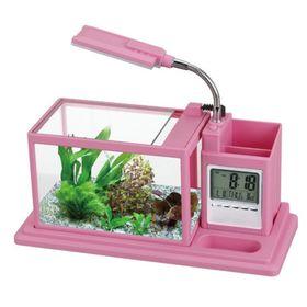 Аквариум BOYU 1,7 л., лампа 1,5Вт, помпа 120 л/ч., розовый