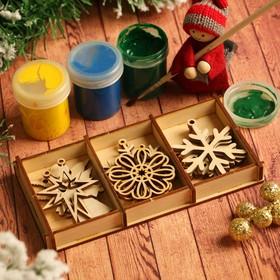 Набор заготовок для творчества «Снежинки и игрушки», 6 видов, 12 шт, размер 6х5 см