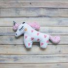 """Игрушка-подушка декоративная """"Единорог"""", хлопок, розовая, 45 х 25 см"""