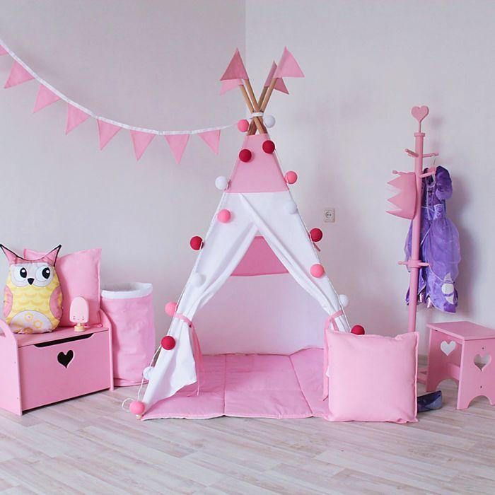 Вигвам с окном, карманом и флажками, размер 110x110 см, высота 160 см, цвет розовый