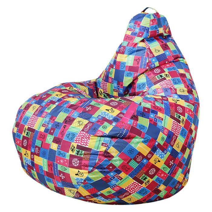 Кресло-мешок «Капля», цвет бордовый/лоскутки, нейлон