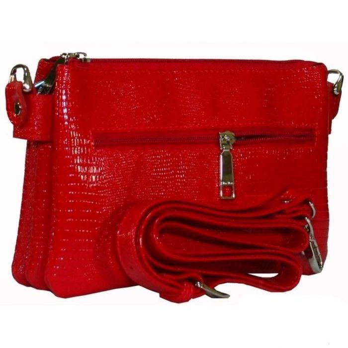 Сумка женская, отделение на молнии, наружный карман, плечевой ремень, цвет красный