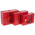Набор коробок 3в1 прямоуг с ручками (23,7*17*7,27,7,24,5*9,29,6*22*11 см), красный