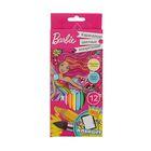 Карандаши акварельные 12 цветов Mattel Barbie, европодвес