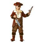 Карнавальный костюм «Капитан пиратов», (бархат, парча), размер 30, рост 116 см, цвет коричневый