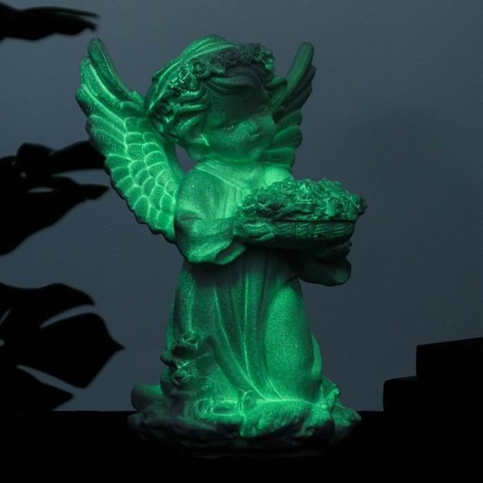 """Светящаяся фигура """"Ангел с чашей цветов"""" 15х15х32см - фото 1004081"""