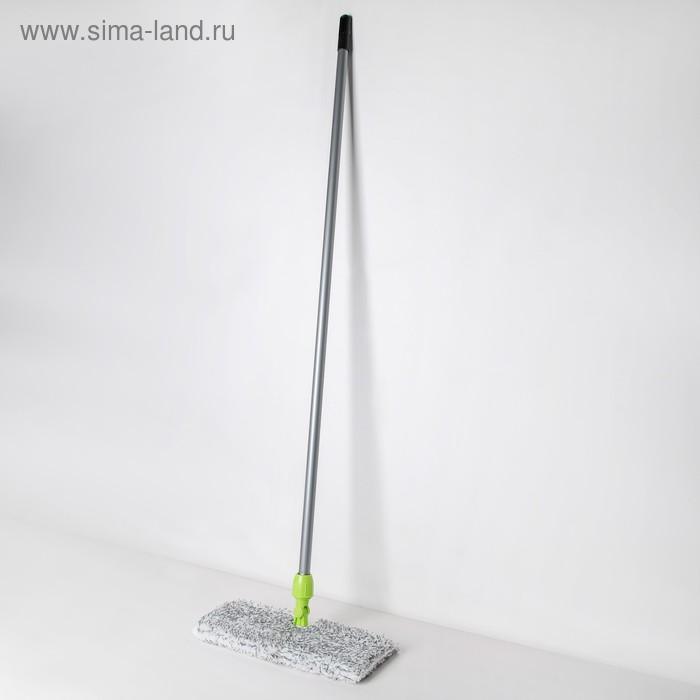 Швабра плоская двусторонняя, ручка 120 см, насадка микрофибра 40×10 см, цвет МИКС