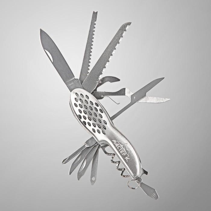 Нож многофункциональный 11 в 1, рукоять с перфорацией, хром