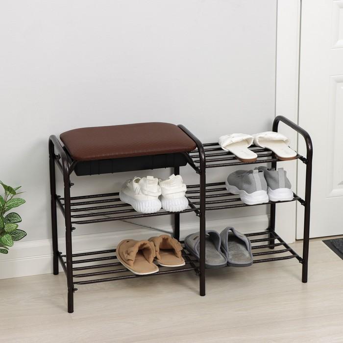 """Этажерка для обуви 79×33×50 см """"Люкс"""", с сиденьем и ящиком, цвет медно-коричневый"""