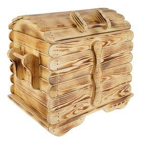 Сундук Разбойник фигурный, натуральная сосна(обожжённый, лакированный) Ош