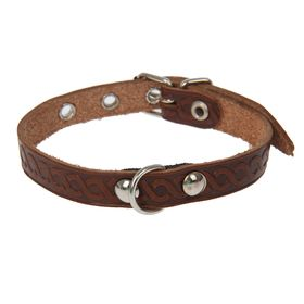 Leather dog collar single layer of unadorned, 1.2 cm