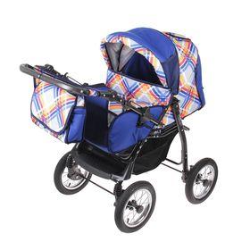 Коляска-трансформер «Гном», надувные колёса, оттенки синего, рисунок МИКС