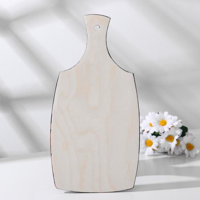 Доска разделочная «Земляничка», средняя, 16×30×0,7 см, хохлома