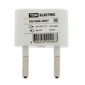 Переходник TDM, плоский, 10А, макс. 250В, (тип CEE 7/17 - тип А/F), белый, SQ1806-0087 Ош