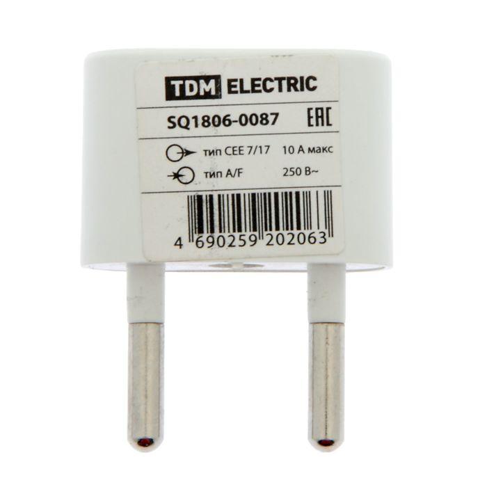 Переходник TDM, плоский, 10А, макс. 250В, (тип CEE 7/17 - тип А/F), белый, SQ1806-0087