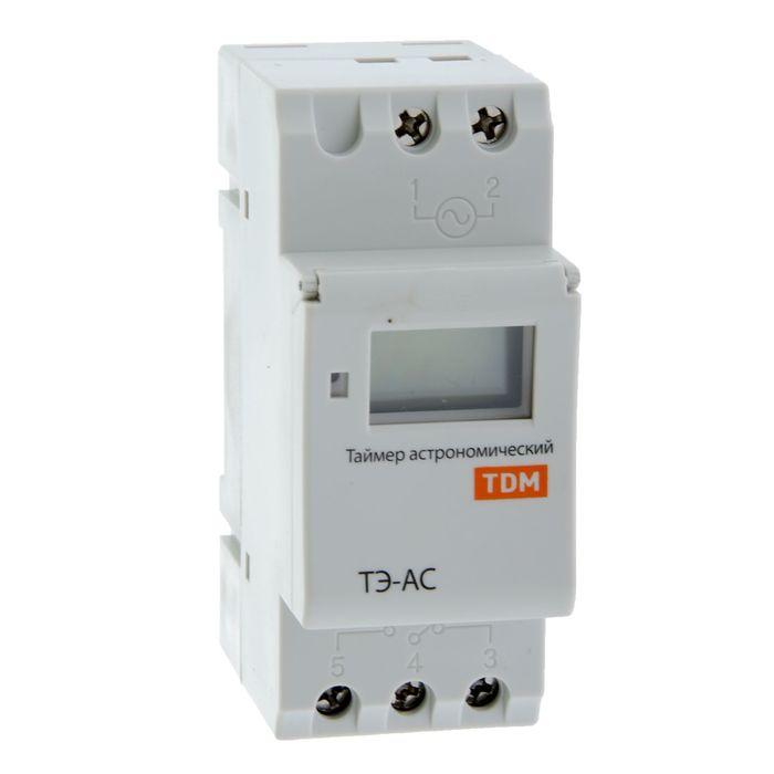 Таймер электронный ТЭ-АС-1мин/24ч-8on/off-16А-DIN (астрономический) TDM