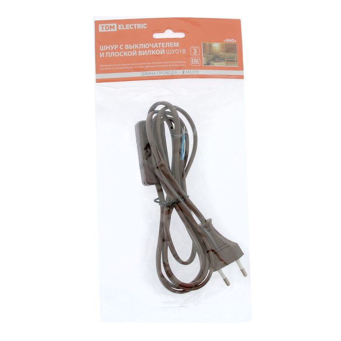 Шнур TDM, 2 м, с плоской вилкой, с выкл., ШВВП 2 х 0.75 мм2, коричневый, SQ1305-0006