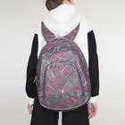 Рюкзак на молнии, 2 отдела, 2 наружных кармана, цвет серый/розовый