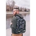 Рюкзак туристический, 2 отдела на молниях, 2 наружных кармана, цвет чёрный