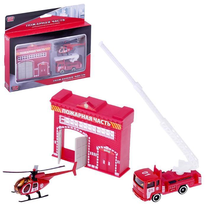 """Набор """"Пожарная станция"""", с металлической машинкой 7,5 см и вертолётом"""