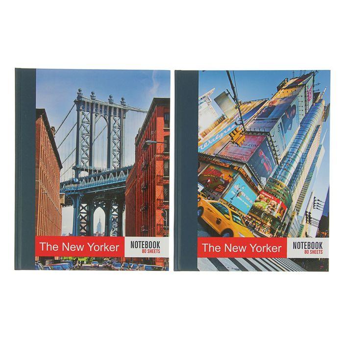Бизнес-блокнот А5, 80 листов New Yorker, матовая ламинация, выборочный УФ-лак, МИКС