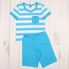 """Костюм для мальчика """"Моряк"""" (футболка, капри), цвет белый/бирюзовый, рост 134-140 см (34)"""
