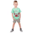"""Футболка для мальчика """"Рифы"""", рост 86 см (48), цвет бирюзовый, принт краб ПДК961001_М"""
