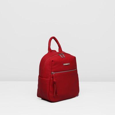 Рюкзак на молнии, 1 отдел, наружный карман, цвет красный