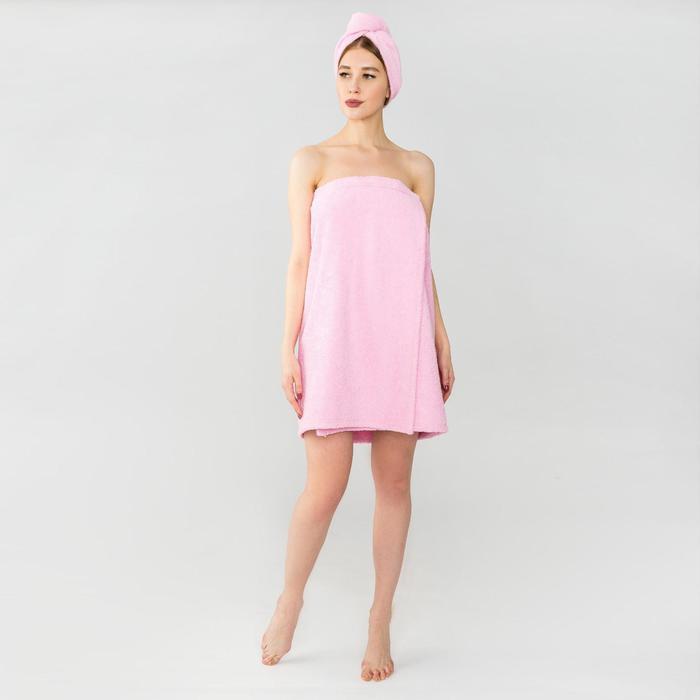 Набор для сауны Экономь и Я: полотенце- парео 68*150см + чалма, розовый, 100%хл, 320 г/м2 - фото 7256210