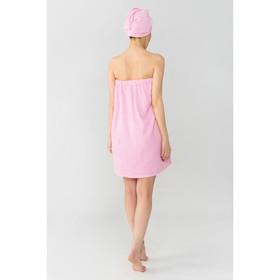 Набор для сауны Экономь и Я: полотенце- парео 68*150см + чалма, розовый, 100%хл, 320 г/м2 - фото 7256214