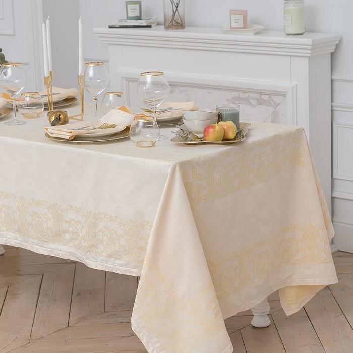 """Столовый набор """"Этель"""" (скатерть 150х150 см, салфетки 45х45 см - 4 шт.) цвет шампань, хл. с ВМГО"""