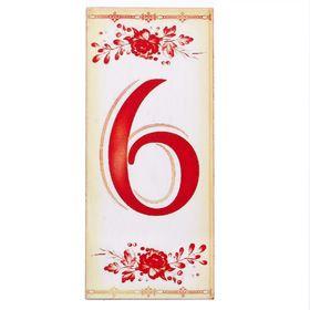 Цифра дверная из дерева '6', букет, 3*7 см Ош