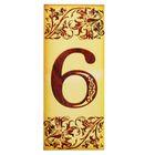 """Цифра дверная из дерева """"6"""", под выжигание, 3*7 см"""