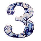 """Цифра дверная из дерева """"3"""", гжель, 4,1*5 см"""