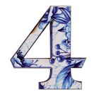 """Цифра дверная из дерева """"4"""", гжель, 4,4*4,7 см"""