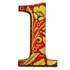 "Цифра дверная из дерева ""1"", хохлома, 3*4,7 см"