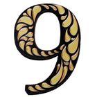 """Цифра дверная из дерева """"9"""", черное с золотом, 4,2*5 см"""