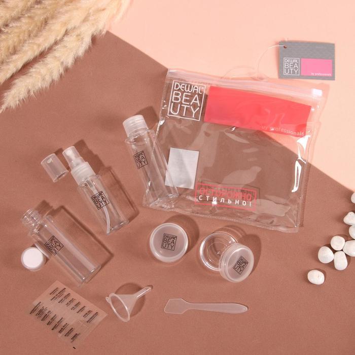 Набор дорожный, 8 предметов: 2 бутылочки по 50мл, 1 бутылочка 30мл, 2 контейнера по 10г, воронка, лопатка, наклейка, цвет прозрачный