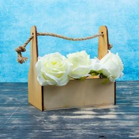 Кашпо деревянное 20×12.5×20 см Стелла Моно, ручка верёвка, натуральный Дарим Красиво
