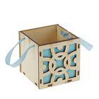 "Подарочная коробка ""Узоры"", голубая, ручка- лента, 10х10х10см"