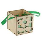 "Подарочная коробка ""Цветок"", зелёная, ручка- лента, 10х10х10см"