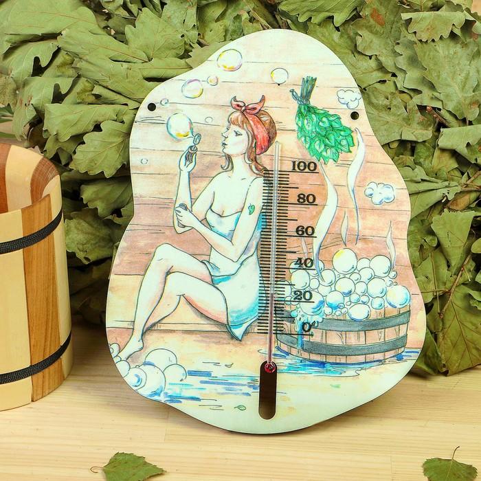 """Деревянный термометр банный """"Мульные пузыри""""  с УФ печатью,"""