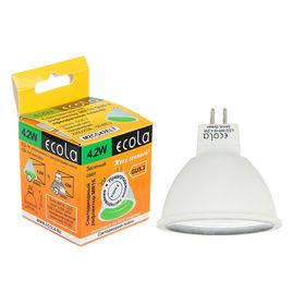 Лампа светодиодная Ecola, MR16, GU5.3, 4.2 Вт, прозрачное стекло, зеленый свет