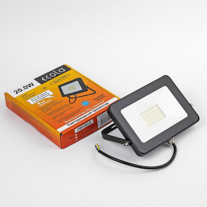Прожектор светодиодный Ecola, 20 Вт, 220 В, 4200 K, IP65, Черный 146x102x17