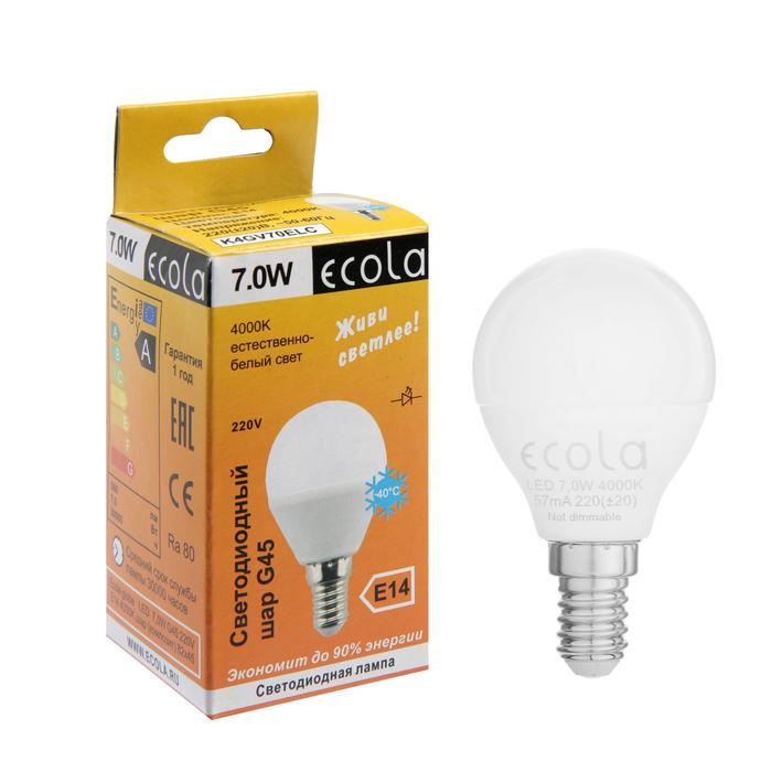 Лампа светодиодная Ecola globe, G45, 7 Вт, E14, 4000 K, 82x45, дневной белый