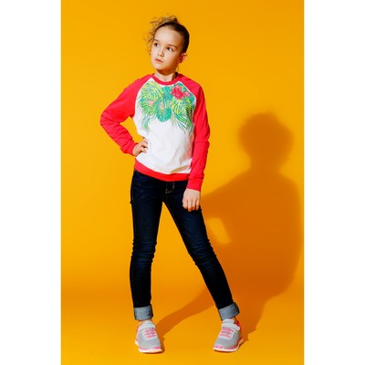 Джемпер для девочки, рост 128 см, цвет арбузный 170214